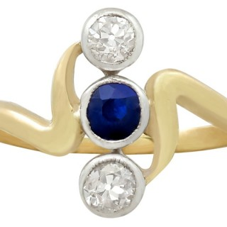 0.25ct Sapphire and 0.40ct Diamond, 14ct Yellow Gold Dress Ring - Antique Austro-Hungarian Circa 1930