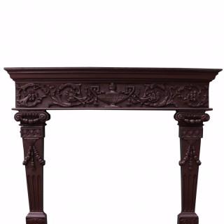 Carved Oak Tudor Style Fireplace