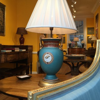 19th Century Neoclassical Turquoise Table Lamp