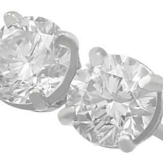 1.42ct Diamond and Platinum Stud Earrings - Vintage and Contemporary