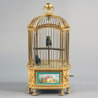 Gilt-Bronze and Sèvres Style Porcelain Mounted Double Singing Bird Automaton by Bontems, Paris