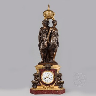 Fine Patinated Bronze and Rouge Griotte Marble Clock Depicting The Three Graces