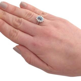 1.07 ct Aquamarine and 0.36 ct Diamond, 18 ct White Gold Dress Ring