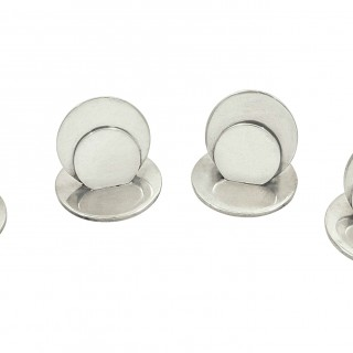 Set of 4 Antique Sterling Silver Menu Holders in Case 1914