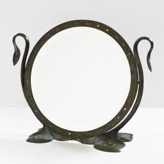 "A Tiffany Studios New York Glass And Bronze ""Peacock"" Mirror"