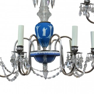 A PAIR OF ENGLISH WEDGWOOD & SILVER CHANDELIERS