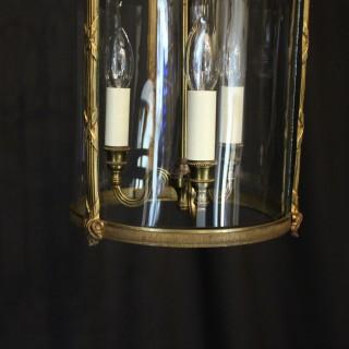 French Triple Light Convex Antique Lantern