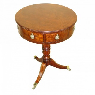 Small English Georgian Drum Top Occasional Lamp Table