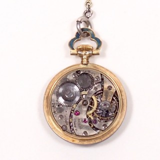 Concord Watch Co. Diamond Enamel Pendant Watch, 1915