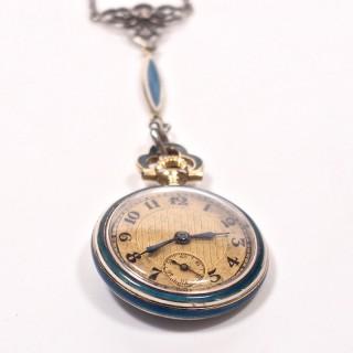 Concord Watch Co. Diamond Enamel Pendant Watch, 1915