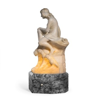 Art Deco alabaster lamp of a bather