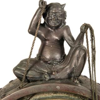 Large Japanese Meiji Period Bronze Gong, circa 1868-1912