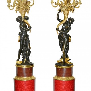 Large Fine Quality Pair of Louis XVI Style Bronze Candelabra, circa 1860