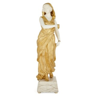 Gilt bronze mounted marble figure by Affortunato Gory