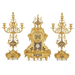 Neoclassical style gilt bronze and cloisonné enamel clock set
