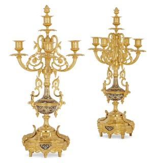 Neoclassical style gilt bronze and cloisonné enamel clock set