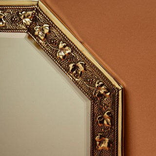 A Clean Embossed Brass Mirror, circa 1900