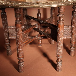 A Very Decorative Anglo Indian Middle Eastern Possible Mughal Empire Folding Coffee Table. Circa 1900-20