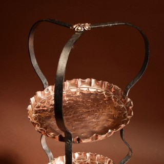 A Decorative Cake Stand, Arts and craft Copper and Wrought Iron. Circa 1900