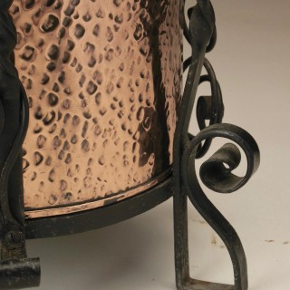 A Very Decorative And Stylish Arts And Craft Copper and Wrought iron Coal Bin.