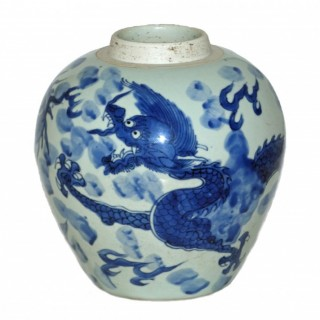 Transitional chinese Blue and White Porcelain Dragon Jar
