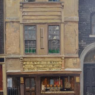 Rex Vicat Cole - London Shop Front - oil on board