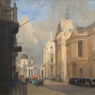 Rex Vicat Cole - Trafalgar Square and the National Gallery - oil on panel