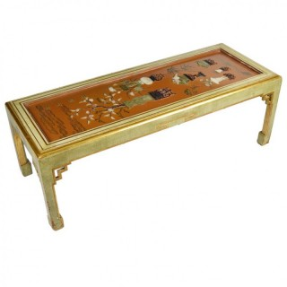 Antique Chinese Lacquer Panel, Coffee Table