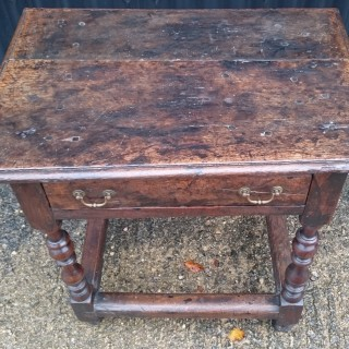 Unusually Small Early 18th Century Oak Side Table