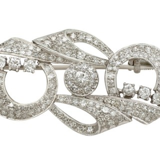 2.76ct Diamond and Platinum Brooch - Art Deco - Antique Circa 1935