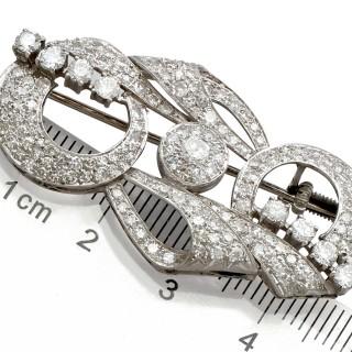 2.76ct Diamond and Platinum Brooch - Art Deco - Antique Circa 1935