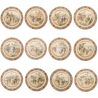 12 Japanese Kinkozan Satsuma Plates, 19th Century