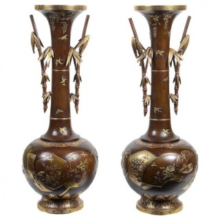 Fine Quality Pair of Miyao Japanese Bronze Vases
