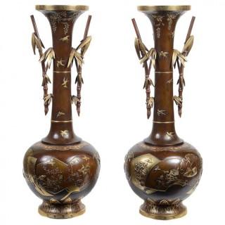 Fine Quality Pair of Miyao Japanese Bronze Vases