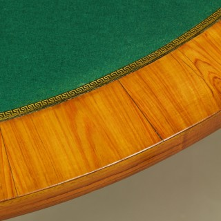 French 18th Century Louis XVI Marquetry Demilune Fold-Over Game Table