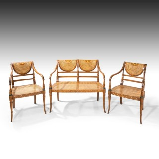An Elegant Early 20th Century Satin Mahogany Salon Suite
