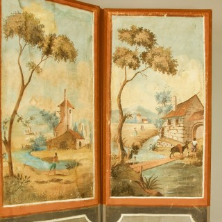 French 18th Century Southern Landscapes Three-Leaf Folding Screen or Paravent