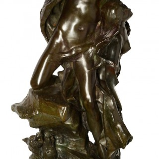 Large Classical Semi Nude Bronze Figures Mounted on Marble Pedestal, circa 1880