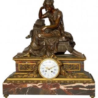 Large 19th Century Classical Bronze Mantel Clock, by Gautier, Paris