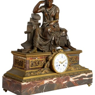 Large 19th Century Classical Bronze Mantel Clock, by Gautier, Paris