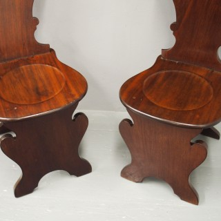 Pair of Sgabello Style Mahogany Hall Chairs