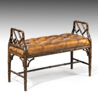 An Elegant Late 20th Century Faux Bamboo Window Seat in the Regency Manner