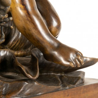 19th Century Bronze Study of a Child Seated on a Shell, Signed Pigale