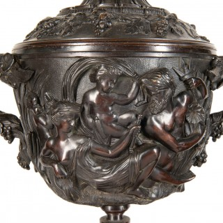 Large Pair of 19th Century Bronze Bacchus Style Urns