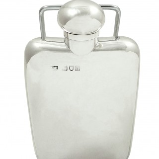 Antique Edwardian Sterling Silver Hip Flask 1903