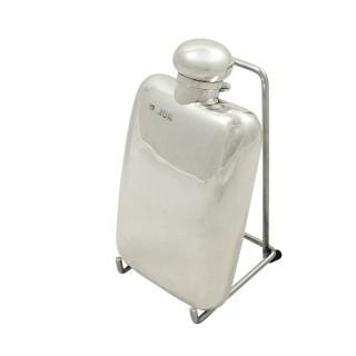 Antique Edwardian Sterling Silver Hip Flask 1903