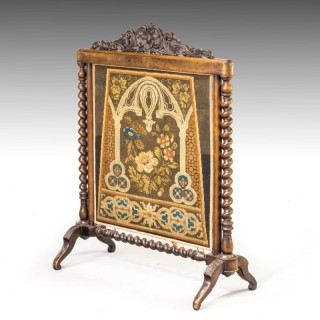 A Very Good Quality Mid 19th Century Walnut Fire Screen