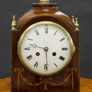 Edwardian French Mahogany Mantel Clock by Samuel Marti, Paris