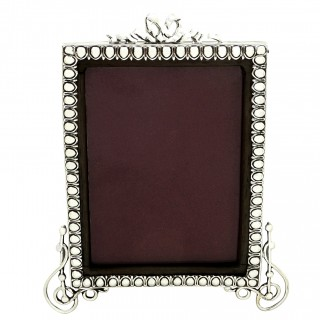 Antique Victorian Sterling Silver 'Bow' Photo Frame 1900