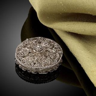 Rare little silver filigree Pomander German c.1690